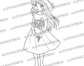 Digital Stamp Hat Bouquet Girl, Digi Download, Flower Floral, Happy Birthday Spring Summer, Clip Art, Coloring Page, Scrapbooking Supplies
