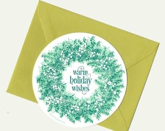 letterpress holiday wreath circle card