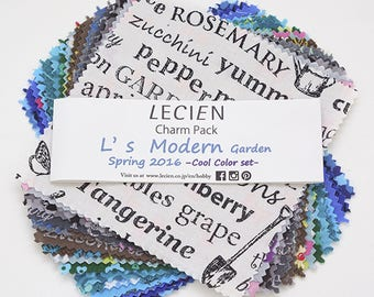 "Lecien 5"" x 5"" Charm Pack L's Modern Garden Spring SP16 Cool color set 42 pieces"
