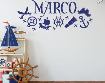 Pirate Decor, Personalized Wall Decals, Pirate Decals, Name Decals, Pirate  Stickers,
