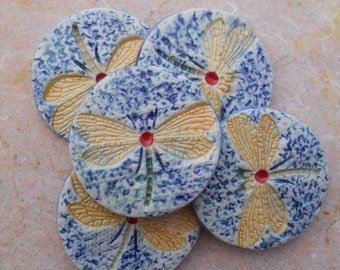 Handmade Dragonfly Tile Set Hand Painted