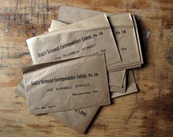 vintage envelope - brown paper Edwardian 1920s envelopes with fantastic lettering - mixed media supplies - lot of 10
