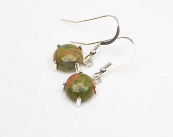 Unakite Earrings - 10MM - Sterling Silver - Cabochon Earrings - Genuine Gemstones - Gift - Dangle Earrings
