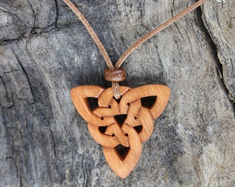 Celtic Knot Triquetra Necklace, Hand-carved Irish Cherry Wood Celtic Infinity Knot Jewelry, Unique Gift From Ireland