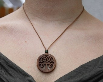Irish Elm Celtic Tree Of Life Knot Pendant, Hand Carved Celtic Tree Knot Wooden Necklace, Handmade Irish Gift