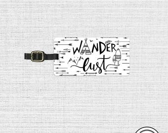 Luggage Tag Wanderlust Black and White Boho Metal Luggage Tag With Custom Info On Back, Single Tag
