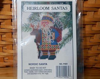Willmaur Nordic Santa Cross Stitch Kit - Heirloom Santas - Free U.S. Shipping