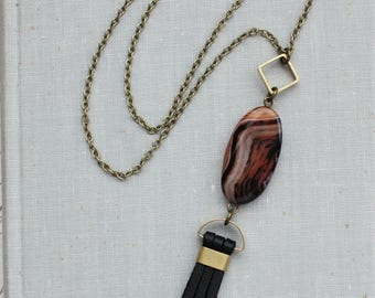 Agate Leather Tassel Necklace