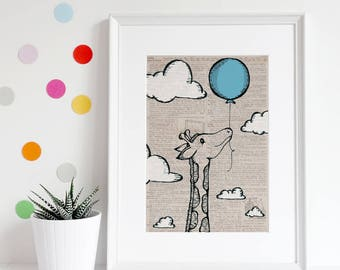 Giraffe wall art, vintage dictionary page art, animals, black and white, illustration, balloon, top best selling, gift under 30, art print
