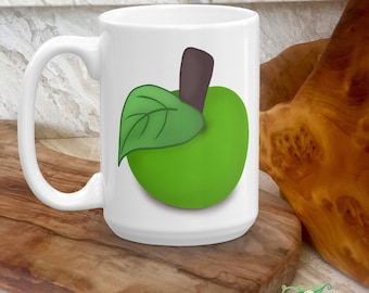 Green Apple Mug - Cute Kids Drinking Cup - Fruits Drinking Ware - Gift for Kids, Apple Lovers - Cute Granny Smith Apple - Custom Kids Gift