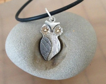 Tiny Baby Owlet Necklace, Who Are You, sterling, etched steel, 14ktgold