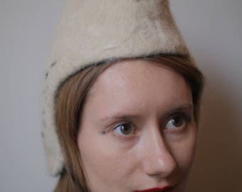 Snowy Owl Hat - 100% alpaca wool - needle felted sculptural headpiece