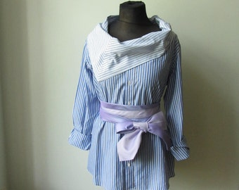 Blue and White Striped Shirt with Necktie Belt, Refashioned Mens Shirt, Cowl Neck Tunic, Upcycled Clothing, Recycled Boyfriend Shirt
