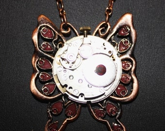 Steampunk Butterfly Copper and Silver Tone Necklace  SP 18-24