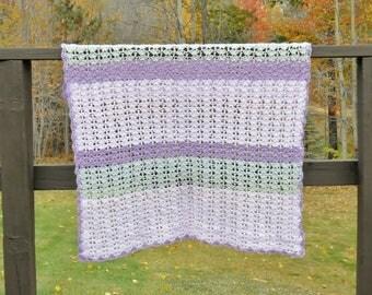 Crochet Baby Blanket Pink Purple Gray Green Striped Gift for Boy or Girl Handmade Lightweight Throw