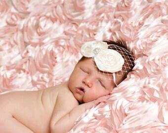 baby headband, baptism headband, newborn photography prop, infant headband, flower girl hair accessories