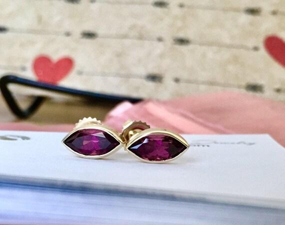 Rubellite Tourmaline Stud Earrings 14k Gold