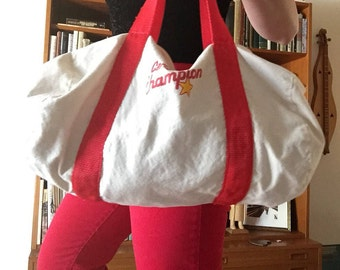 Carl's Jr. Duffel | vintage canvas zip up cotton red trim detail fast food 80s gym weekender travel overnighter yoga BAG ironic