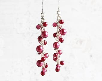 Fuchsia Pink Pearl Cascade Cluster Earrings on Silver Plated Hooks