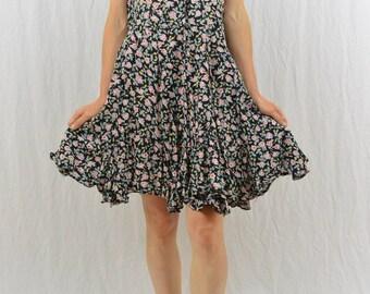 Vintage 90's Floral Mini Dress, Babydoll Dress, Grunge, Rose Print, Medium, My So Called Life, Mori Girl, Hipster, Hippie, Fairy Dress