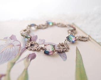 antique Iris Glass Bracelet  rainbow stone silver filigree links Edwardian Art Nouveau