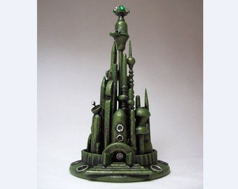 Faerie Skyline Cityscape Sculpture Elvish City Miniature Wood Wizard Tower