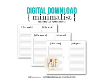 Printable Planner Pages . Minimalist Black and White, This Week, This Month, This Year, Planning Lists List, Midori Filofax Kikki K