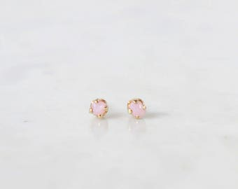 Rose Quartz Gold Filled Stud Earrings / Gem Stone, Boho, Wedding Jewellery / Rose Quartz Gift, Gift For Bridesmaid, Bride