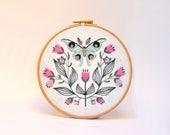 Luna Moth Embroidery kit. Modern Embroidery. Hoop art. Flower embroidery design. Entomology Art.Folk art. Craft lover Gift. Nature art