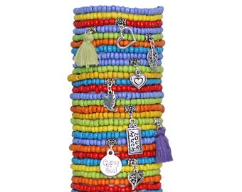 Beaded Bracelets Set of 30 Seed Bead Stretch Bracelets Bohemian Themed Stack with Charms and Tassels Gypsy Soul