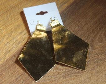 Naked Phoenix Leather Earrings - Shiny Gold