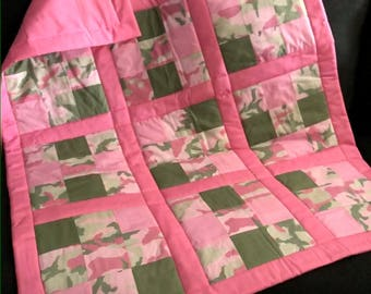 Pink And Green Camo Block Baby Quilt Handmade One Of A Kind Baby Quilt Crib Nursery Blocked Patchwork Quilt
