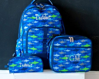 Monogrammed Boys Shark Backpack, Matching Lunchbox and Pencil Case can be purchased, Monogram Included