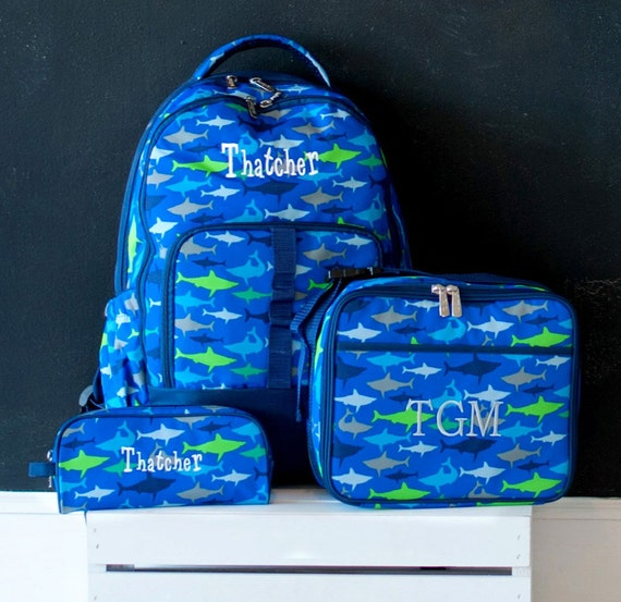 Boys Shark Backpack, Matching Lunch box and Pencil Case can be purchased, Monogram Included