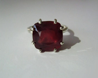 Rare Cushion Cut Natural Ruby In Sterling Silver Cocktail Ring, 8.83ct. Size 6.5.