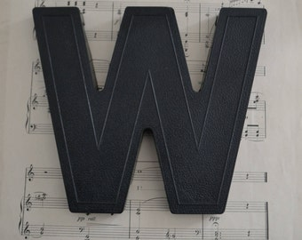 Vintage Salvage Industrial Signage Plastic Black Capital Letter W or M