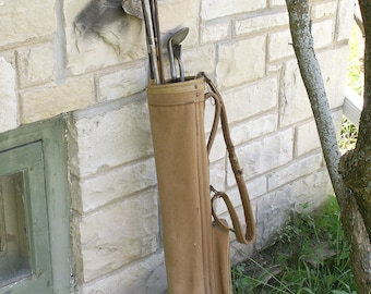 Vintage Canvas Golf Bag with Six Golf Clubs - Great Father's Day Gift