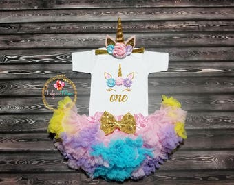 Unicorn birthday outfit, Birthday Girl unicorn Outfit, pastel rainbow pettiskirt, Unicorn outfit, rainbow unicorn, unicorn smash cake outfit