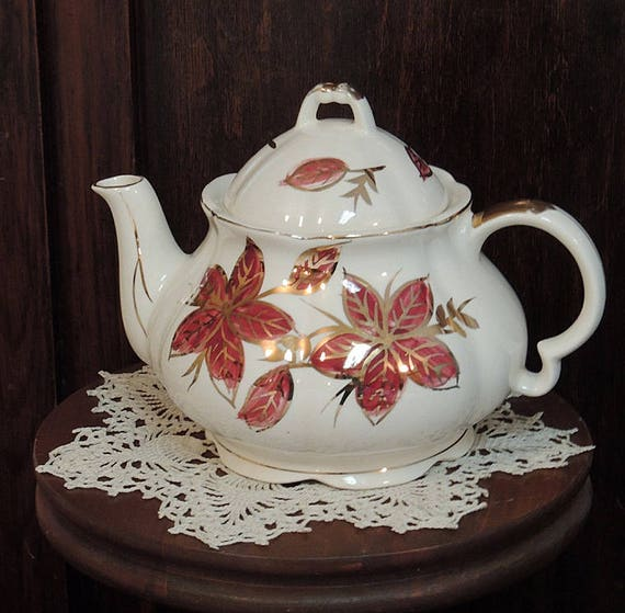 Vintage 4 Cup Teapot..  Hand Painted Burgundy Floral With Gold Gilt Accents