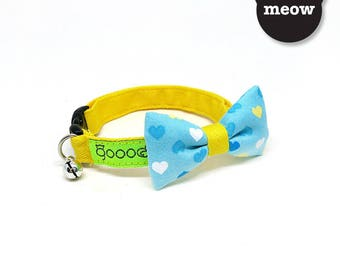 VDAY GOOOD Cat Collar   Smarty - Mr Little Heartful   100% Blue Hearts Cotton Fabric   Safety Breakaway Buckle