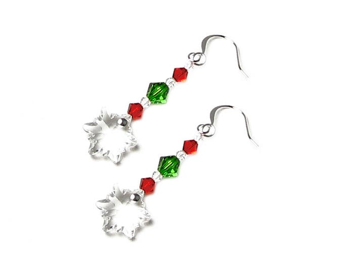 Swarovski Crystal Christmas Snowflake Earrings Clear Edelweiss Flower With Red & Green Silver Ear Wire Winter Holiday Jewelry Gift For Women