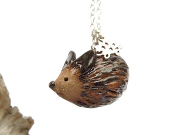 Pottery Hedgehog Pendant, Handmade Ceramic Multi Charm Necklace, Sterling Chain, Wildlife Porcupine Hamster Mouse Lover Gift, Animal Jewelry