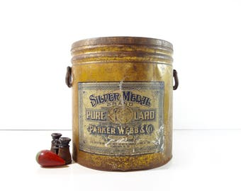 Vintage Large Lard Tin Bucket / Silver Medal Brand Lard Advertising Metal Bin / Rustic Decor
