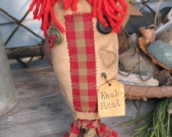 "RAGGEDY ""KNOB HEAD"" Make-Do~ Funky~ Upcycled~ Vintage Door Knob~ Red Homespun~ Handmade Gift~"