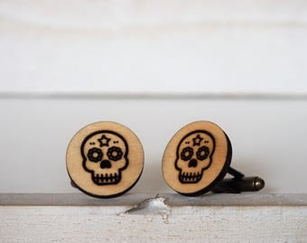 Mexican Sugar Skull Cufflinks Dia De Los Muertos Day of The Dead Cufflinks Skull Cufflinks