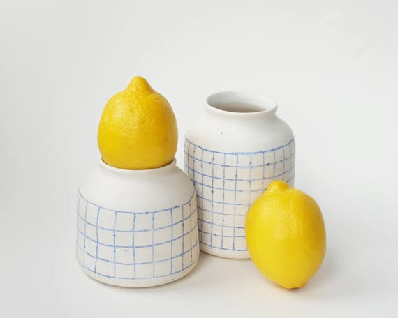 RESERVED for Jenna: ceramic bud vases with white and blue grid pattern