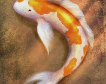 CANVAS PRINT 16x20: Fine Art Giclée, Koi Fish Painting, Koi Pond, Gold Fish, Japanese Art, Asian Artwork, Chinese Painting