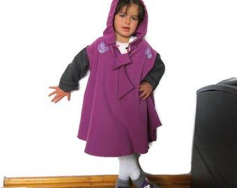 Girls Winter Coat, Purple Coat, Girls sewing coat, Toddler Girls Coat, Children's Jacket, Wool Winter Jacket, Girls Dress Coat, Hooded Coat