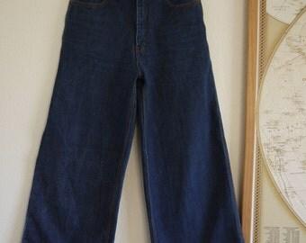 70 wide leg jeans / 1970's high waisted denim / 70's blue jeans / High waisted dark denim wide leg jeans / 1970s dark wide leg high waisted