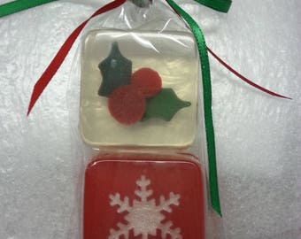 Snowflake Soap Favors, CUSTOM LABELED, ANY Color, Choice of scent, for Frozen Birthday theme, wedding, christmas party, office party